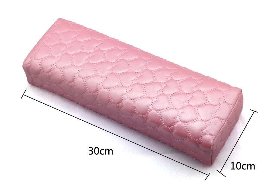 Műbőr kéztáma szív minta-rózsaszín