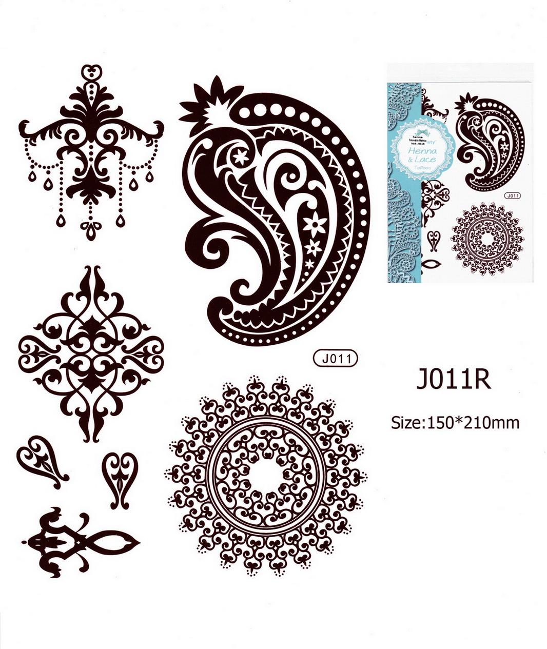 Henna tetoválás matrica 15cmX21cm J011R