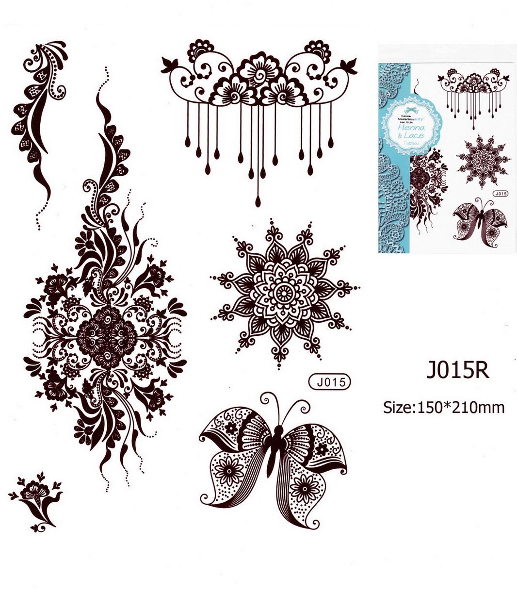 Henna tetoválás matrica 15cmX21cm J015R