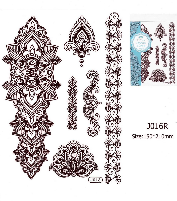 Henna tetoválás matrica 15cmX21cm J016R