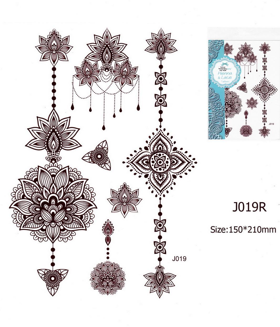 Henna tetoválás matrica 15cmX21cm J019R