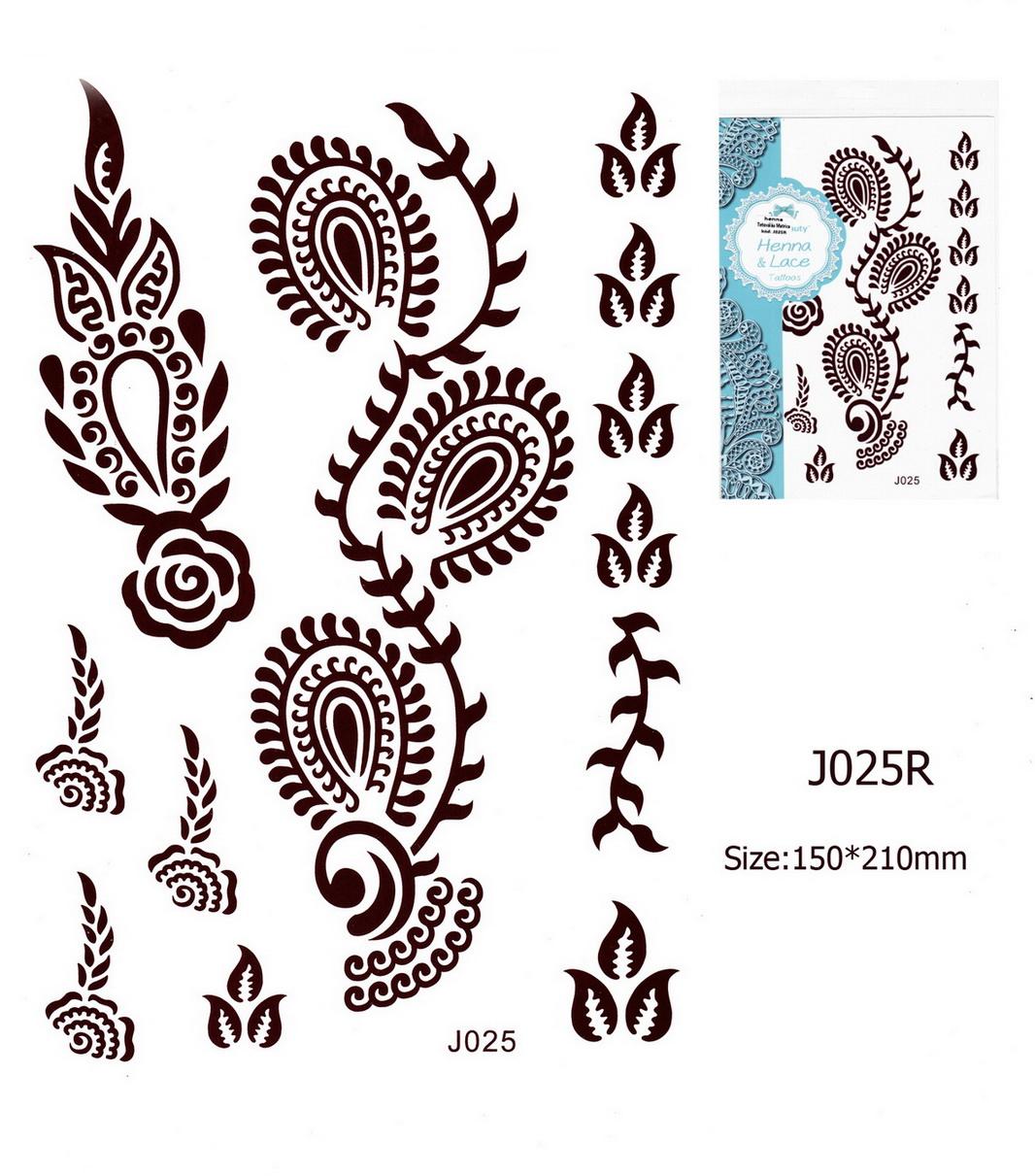 Henna tetoválás matrica 15cmX21cm J025R