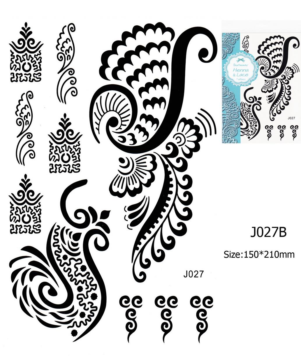 Henna tetoválás matrica 15cmX21cm J027B