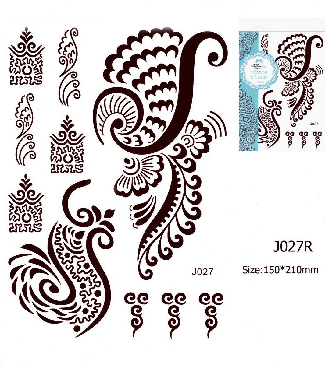 Henna tetoválás matrica 15cmX21cm J027R