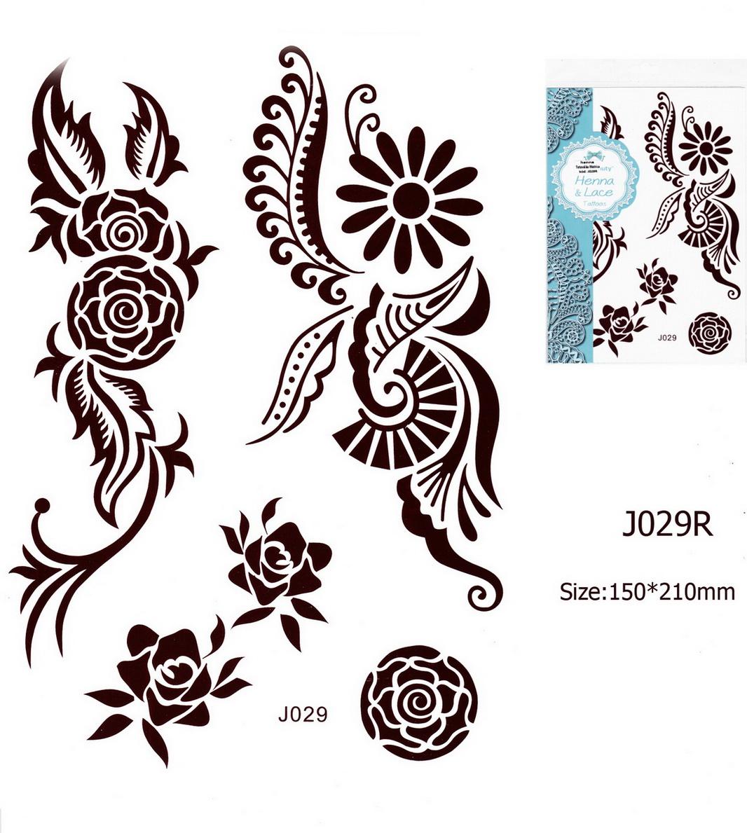 Henna tetoválás matrica 15cmX21cm J029R