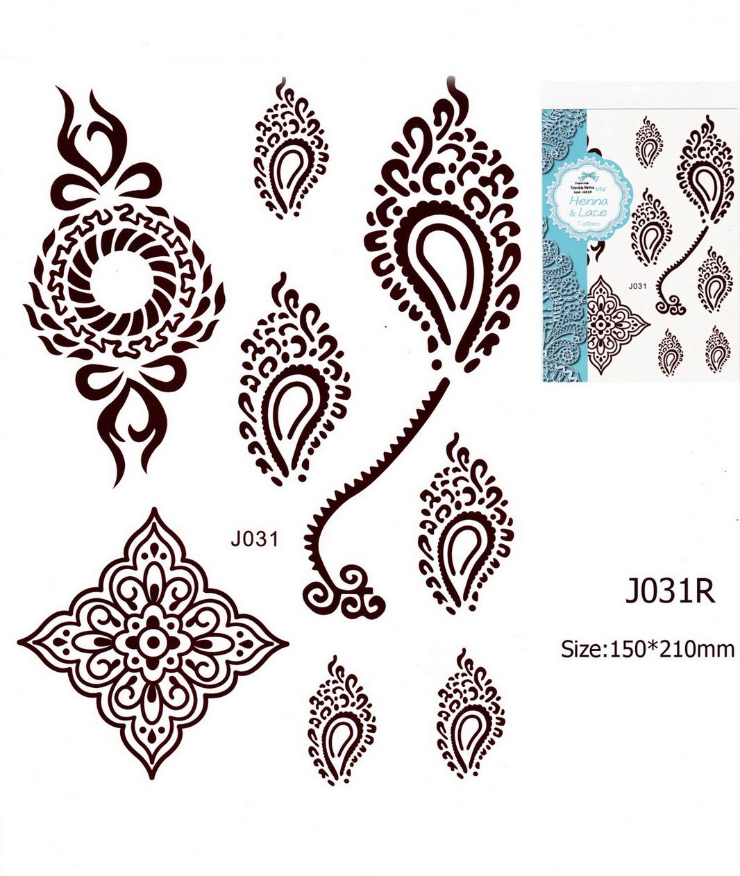 Henna tetoválás matrica 15cmX21cm J031R
