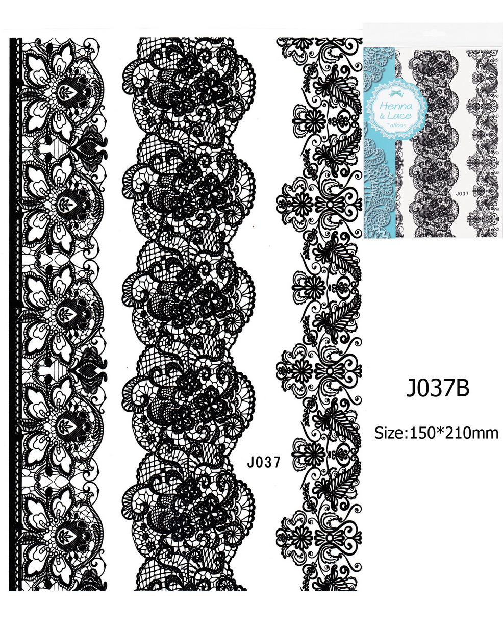 Henna tetoválás matrica 15cmX21cm J037B