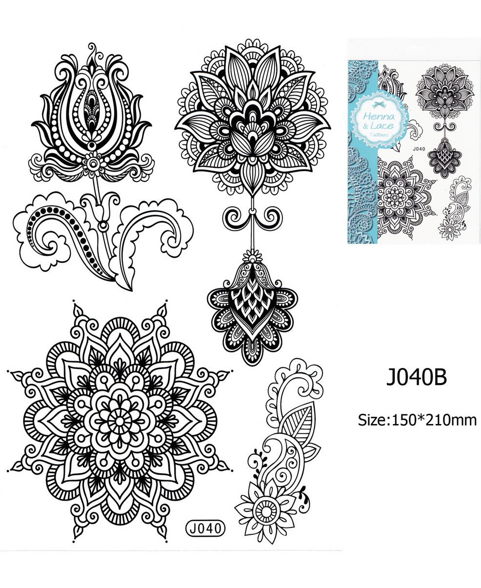 Henna tetoválás matrica 15cmX21cm J040B