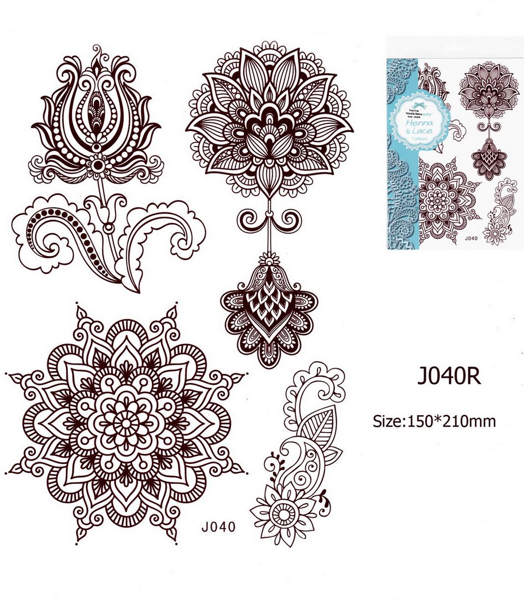 Henna tetoválás matrica 15cmX21cm J040R