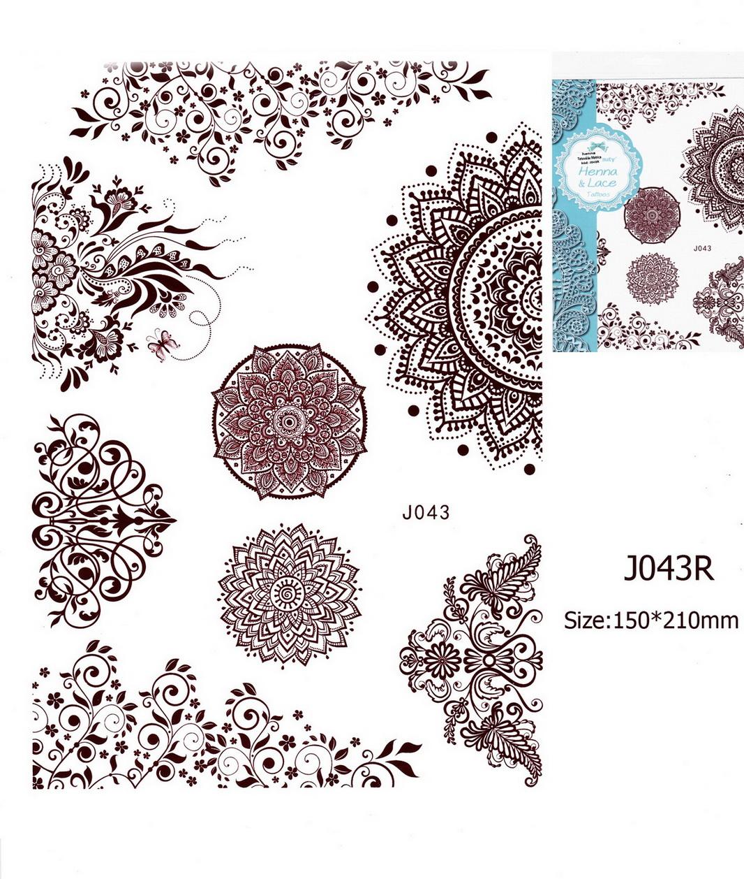 Henna tetoválás matrica 15cmX21cm J043R