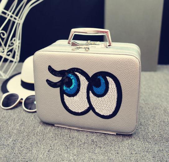 Big eyes Kozmetikai táska bőrönd,L.Szürke