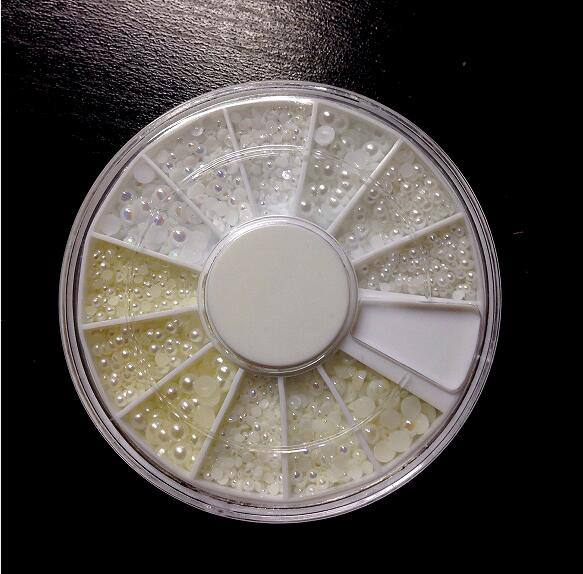Fehér Félkör gyöngy Szett 600db,különböző méret 1.5mm+2mm+3mm