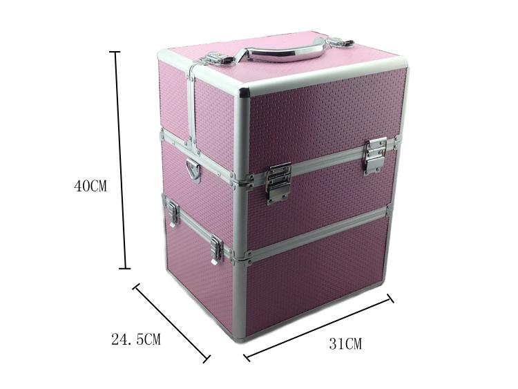 Kozmetikai bőrönd/Műkörmös táska-Rózsaszín(7R)