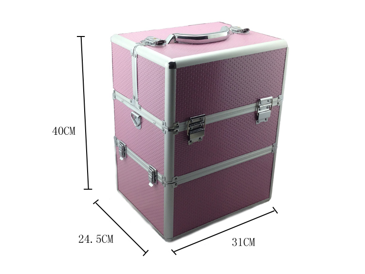 Kozmetikai bőrönd,Műkörmös táska,pink(7R)