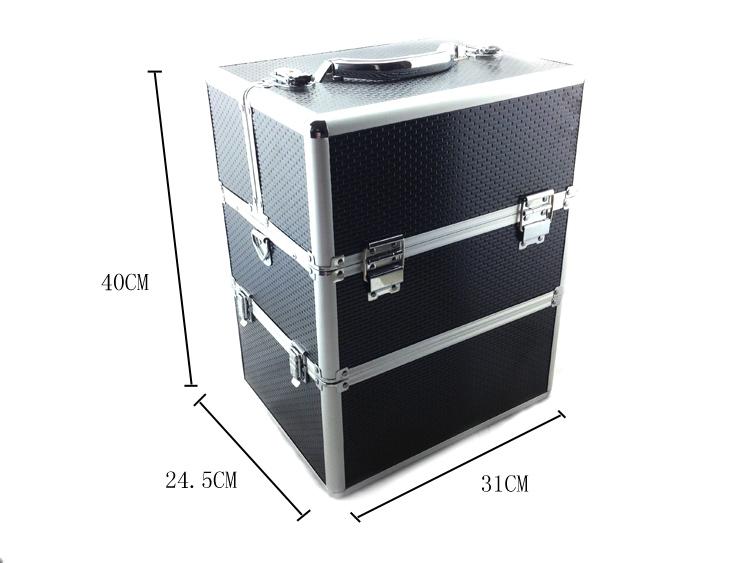 Kozmetikai bőrönd/Műkörmös táska-Fekete(7B)