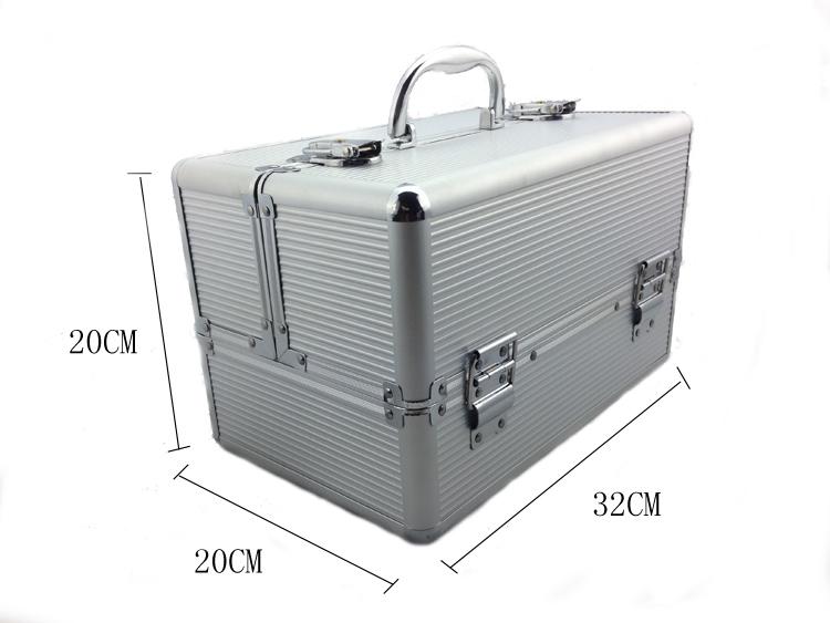 Kozmetikai bőrönd/Műkörmös táska-Ezüst