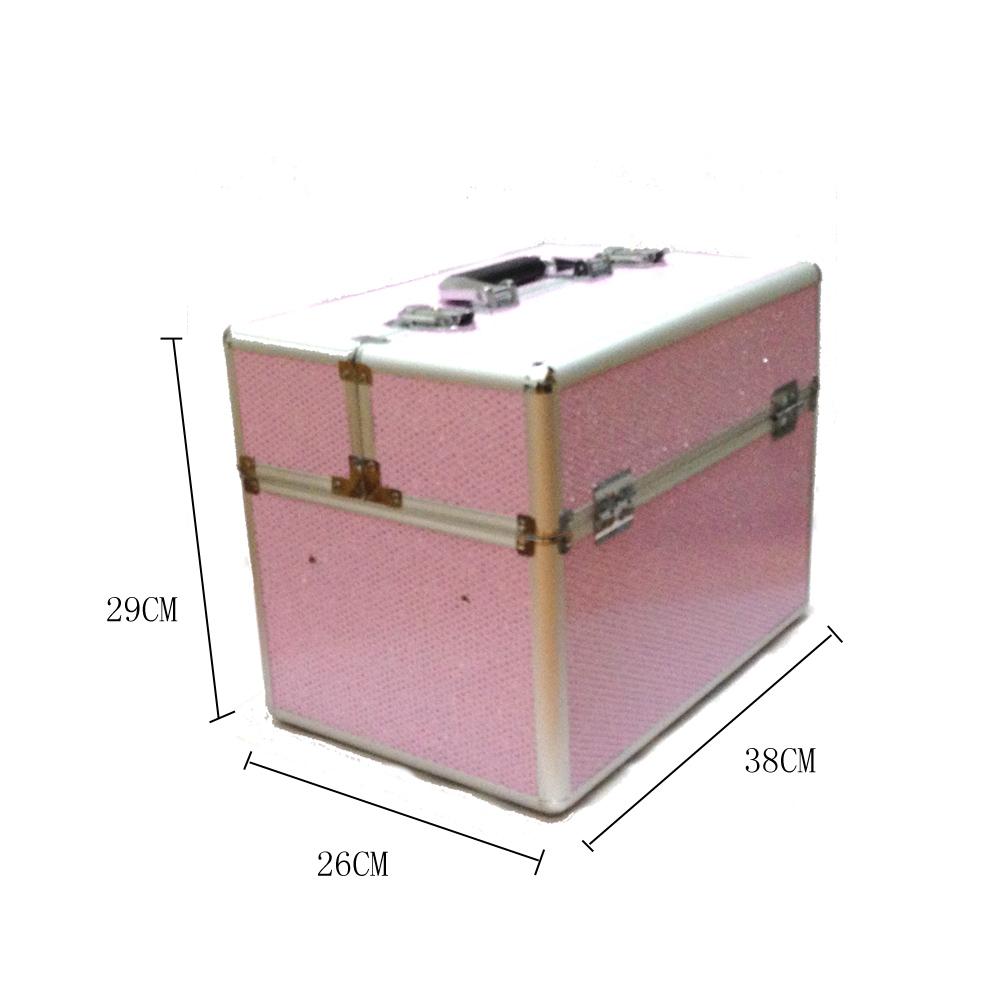 Kozmetikai bőrönd/Műkörmös táska-Rózsaszín glittesres