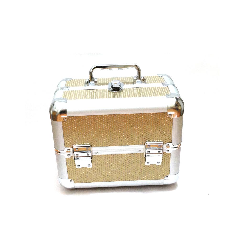 Kozmetikai bőrönd/Műkörmös táska-Arany glitteres