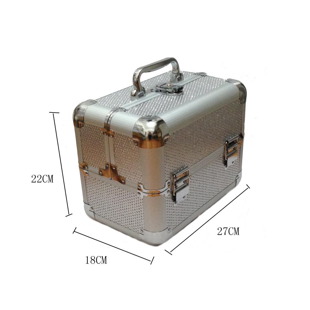 Kozmetikai bőrönd,Műkörmös táska,glitter,Ezüst,
