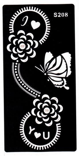 Henna tetováló sablon 10cmX18cm
