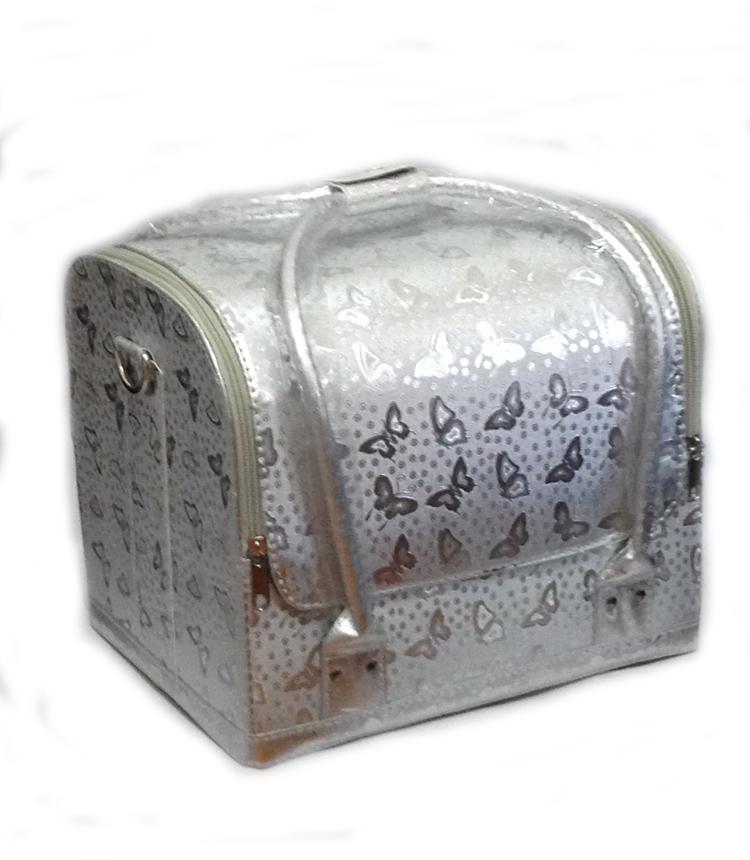 Kozmetikai táska-Ezüst szín, pillangó minta