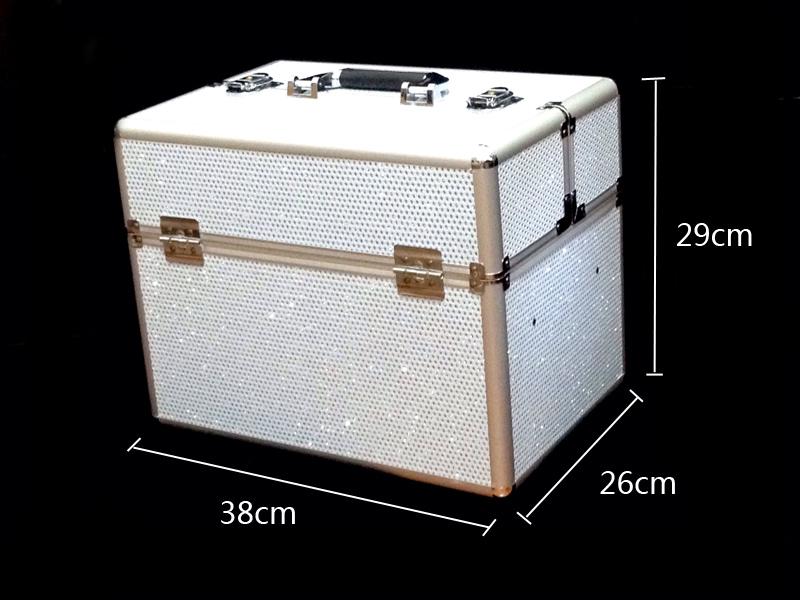 Kozmetikai bőrönd,Műkörmös táska,glitter,Fehér