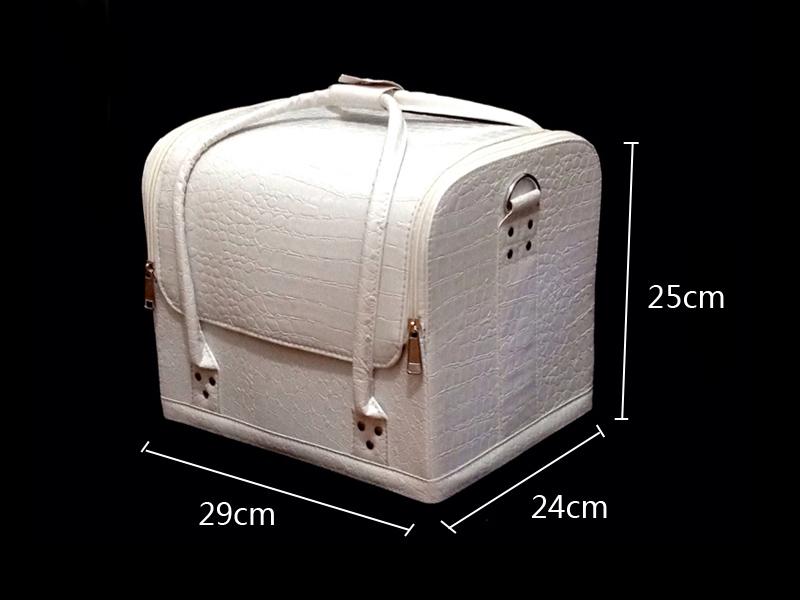 Kozmetikai bőrönd,Műkörmös táska,fényes Fehér
