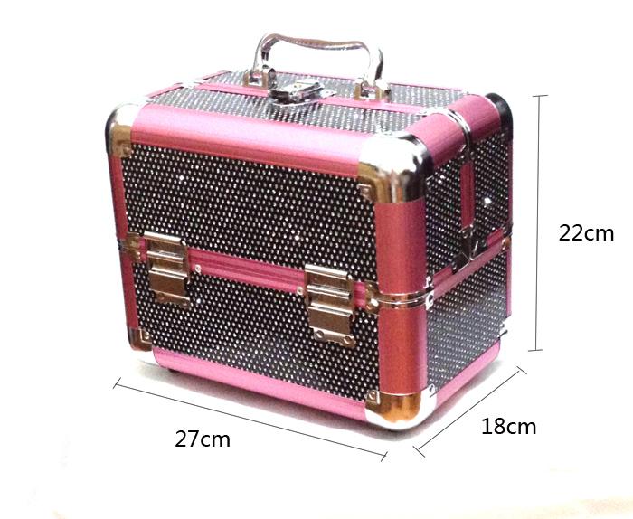 Kozmetikai bőrönd/Műkörmös táska-Fekete glitteres
