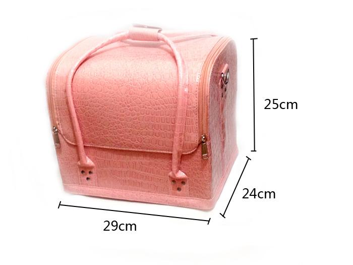 Kozmetikai bőrönd/Műkörmös táska-Fényes barack