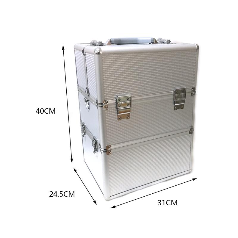 Kozmetikai bőrönd/Műkörmös táska-Ezüst(7S)