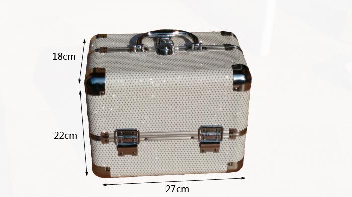 Kozmetikai bőrönd,Műkörmös táska,glitter,fehér1290#