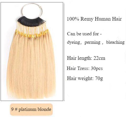 100%emberi hajszínminták gyűrűk,30pcs,22cm hair,70g,platinaszőke9#