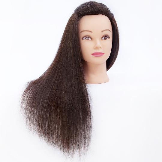 Gyakorló fej-100% emberi hajból (40cm/130g) - SÖTÉTBARNA