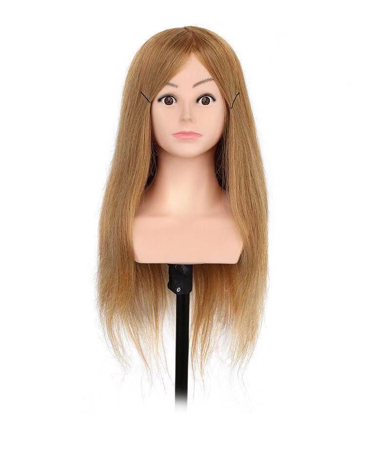 Gyakorló fej-100% emberi hajból (53cm/220g) - SZŐKE