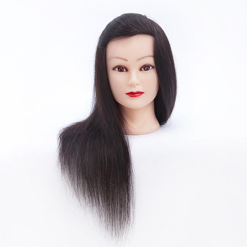 Gyakorló fej- 100% emberi hajból (45cm/160g) - FEKETE