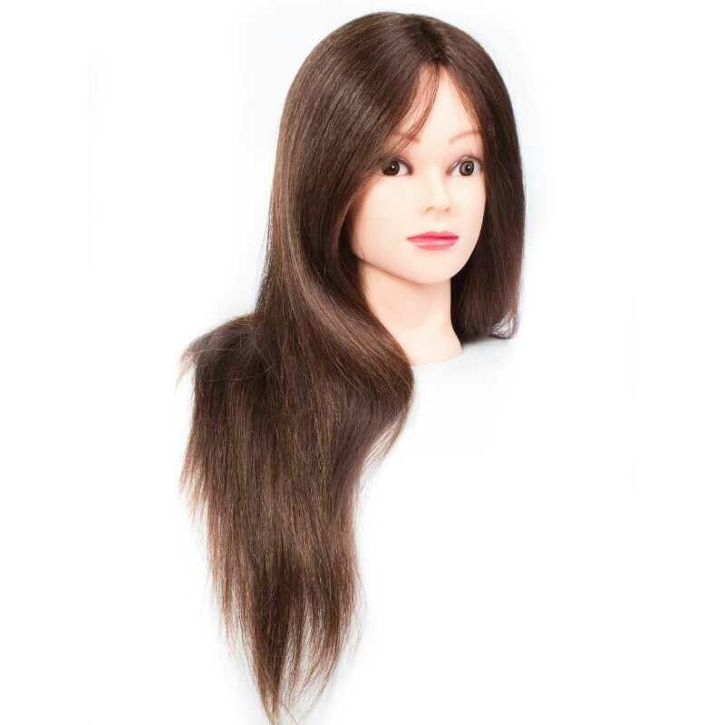 Gyakorló fej- 100% emberi hajból (45cm/160g) - BARNA