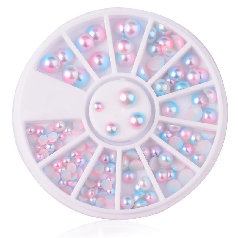 Félkör gyöngy Szett-Rózsaszín AB,3/4/5/6mm,120db-os,