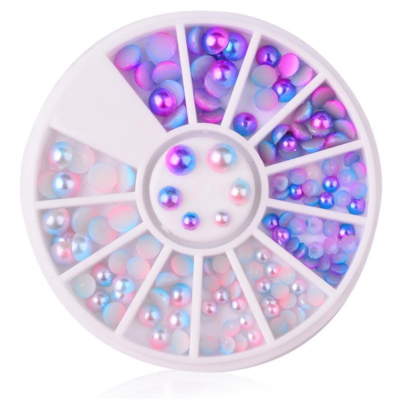 Félkör gyöngy Szett-Kék+Rózsaszín AB,3/4/5/6mm,120db-os,
