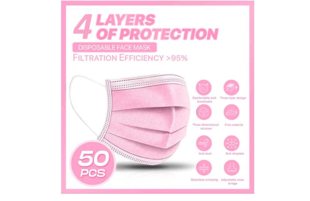 Szájmaszk-4rétegű,50db/box,pink